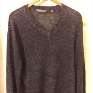 Vince | Men's V-neck | Black Linen | Sweater
